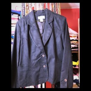 Real Comfort Black Brushed Faux Suede Blazer